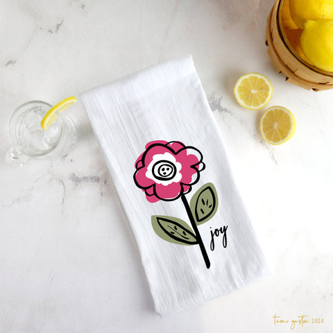 Pink Flower Tea Towel