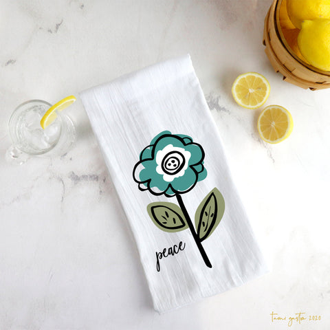Teal Flower Tea Towel