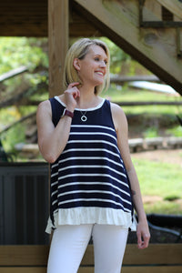 Catch Some Rays - Blue/Stripe/Ruffle Hem Tank