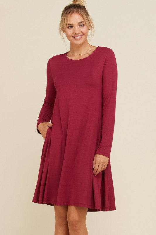 No Regrets - Swing Dress - Berry