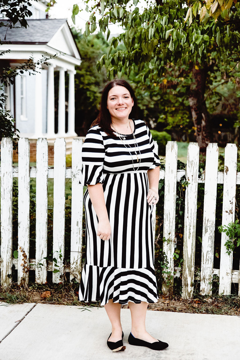 Undeniable Beauty - Black/White Stripe Dress