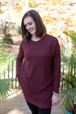 Make Me Smile - Burgundy Pocket Top