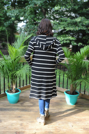 Oh Happy Day - Striped Cardigan (black)