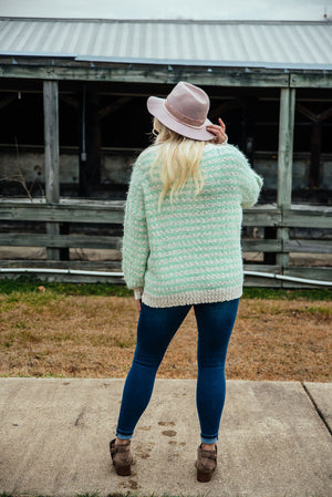 Not Over You - Mint Striped Sweater