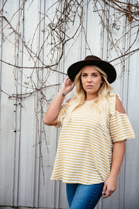 Always There For You - Yellow Stripe Cold Shoulder