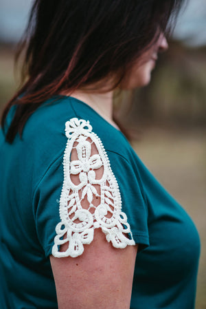 Slice of Heaven - Teal Crochet Sleeve