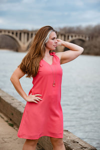 Let's Get Going - Coral Tie Strap Dress