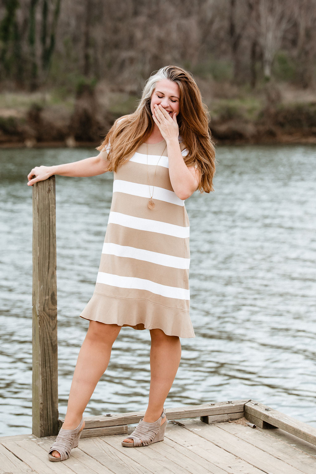 Send My Love - Taupe Stripe Dress