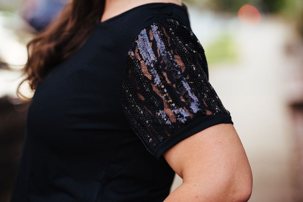 Touch of Fancy - Black Sequin Sleeve