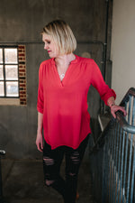 Look This Way - Coral Button Sleeve Top