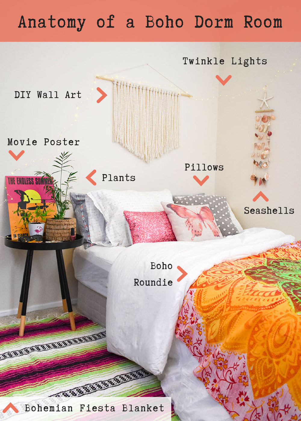 Breaking down the elements of the perfect boho bedroom. This simple, yet colorful dorm room look was created for the boho girl who loves pink, the beach, and a casual cool vibe. It is not over top and has just the right amount of embellishment to let her personality shine.