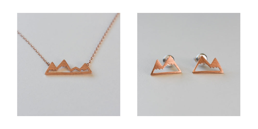 Detail shots of the Mountain Jewelry Collection in Rose Gold.