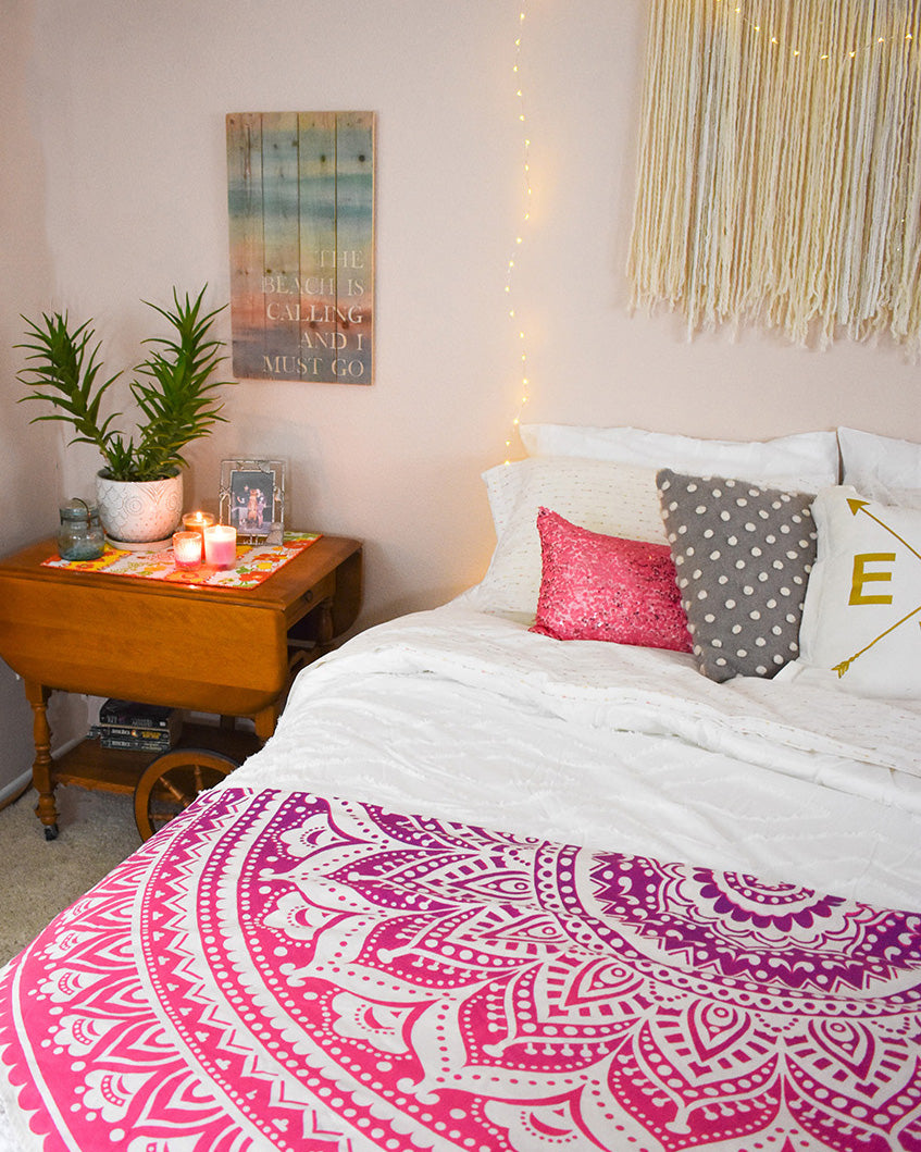 A bright pop of color for the girly boho bedroom. Pretty in Pink Roundie. A mandala tapestry for the hippie bedroom.