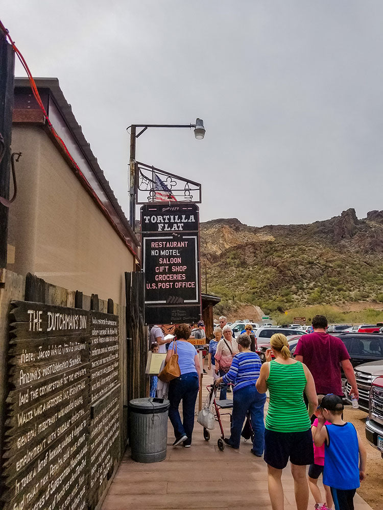 Fighting the crowds in Tortilla Flat, Arizona, the last stagecoach stop on the Apache Trail, during our spring road trip via Davis Taylor Trading Co.