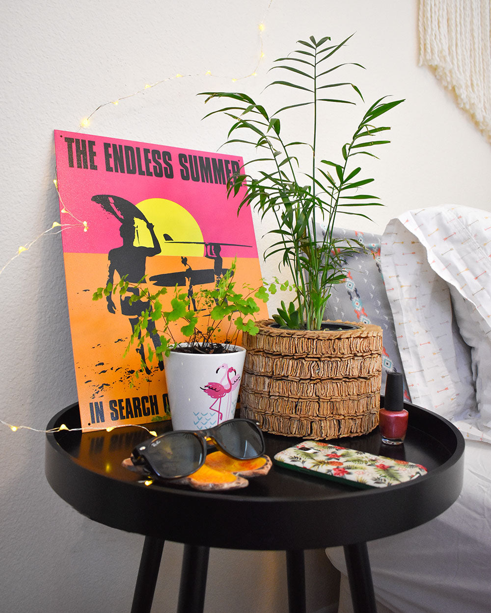 A bedside table is perfect for keeping those must have items close at hand like your cell phone as well as an easy-care houseplant. Plants are perfect for the dorm room, adding beauty, fresh oxygen to purify the air, and providing natural stress relief for the hectic college life.