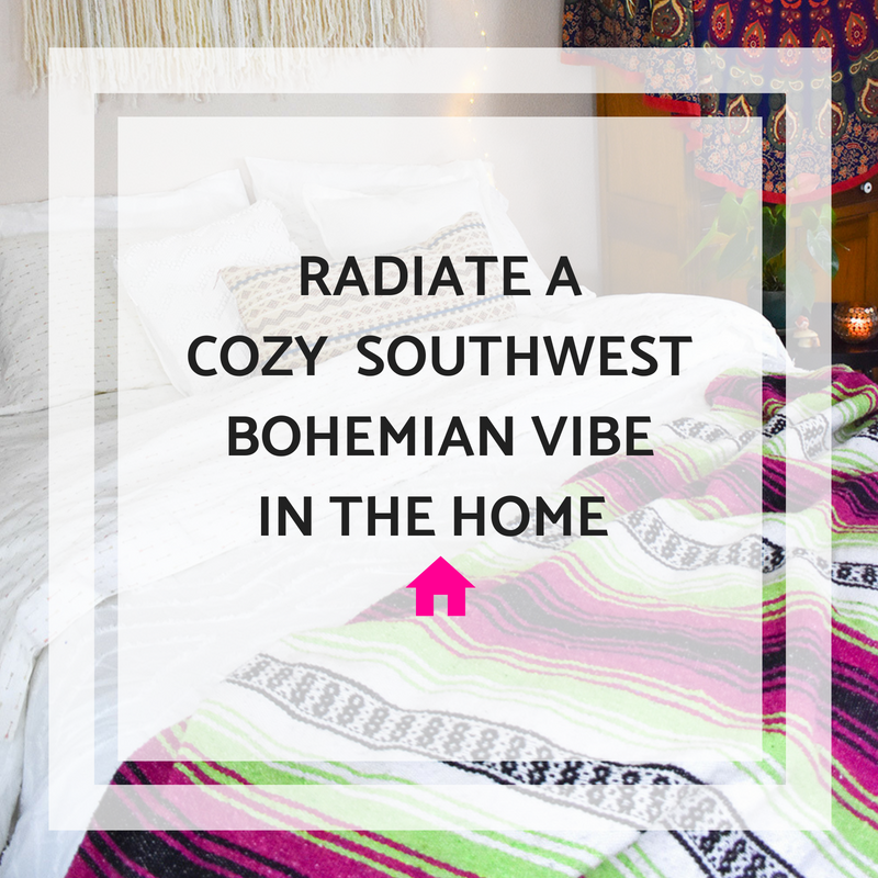Create a cozy home base that radiates a southwest boho vibe with a Bohemian Fiesta Blanket.