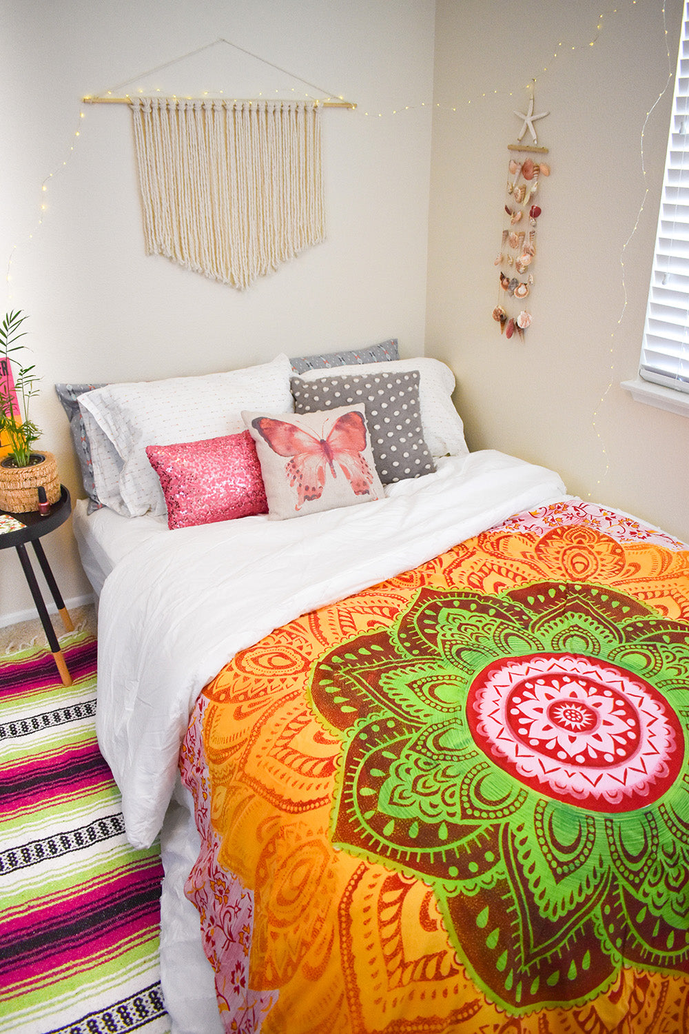 Those dark, gloomy, and grey days got you down this winter? Add a little sunshine to your day with the Blossom Mandala Roundie. This colorful round tapestry radiates warmth and cozy vibes with its vivid summer inspired colors. A quick and easy way to brighten up any room.