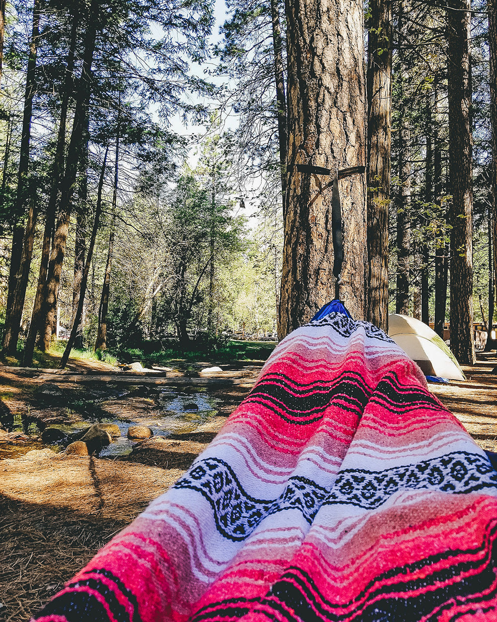 Relaxing in the hammock with a Bohemian Fiesta Blanket is our favorite way to spend time while camping when we aren't out exploring the trails. Lucky we had such a good spot to relax in Yosemite on our last trip.