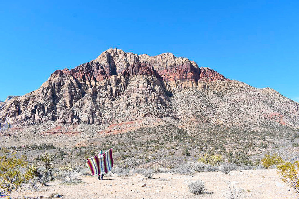 Exploring the winter desert with a cozy Mexican blanket. Perfect for breaks along the trail and a picnic lunch.
