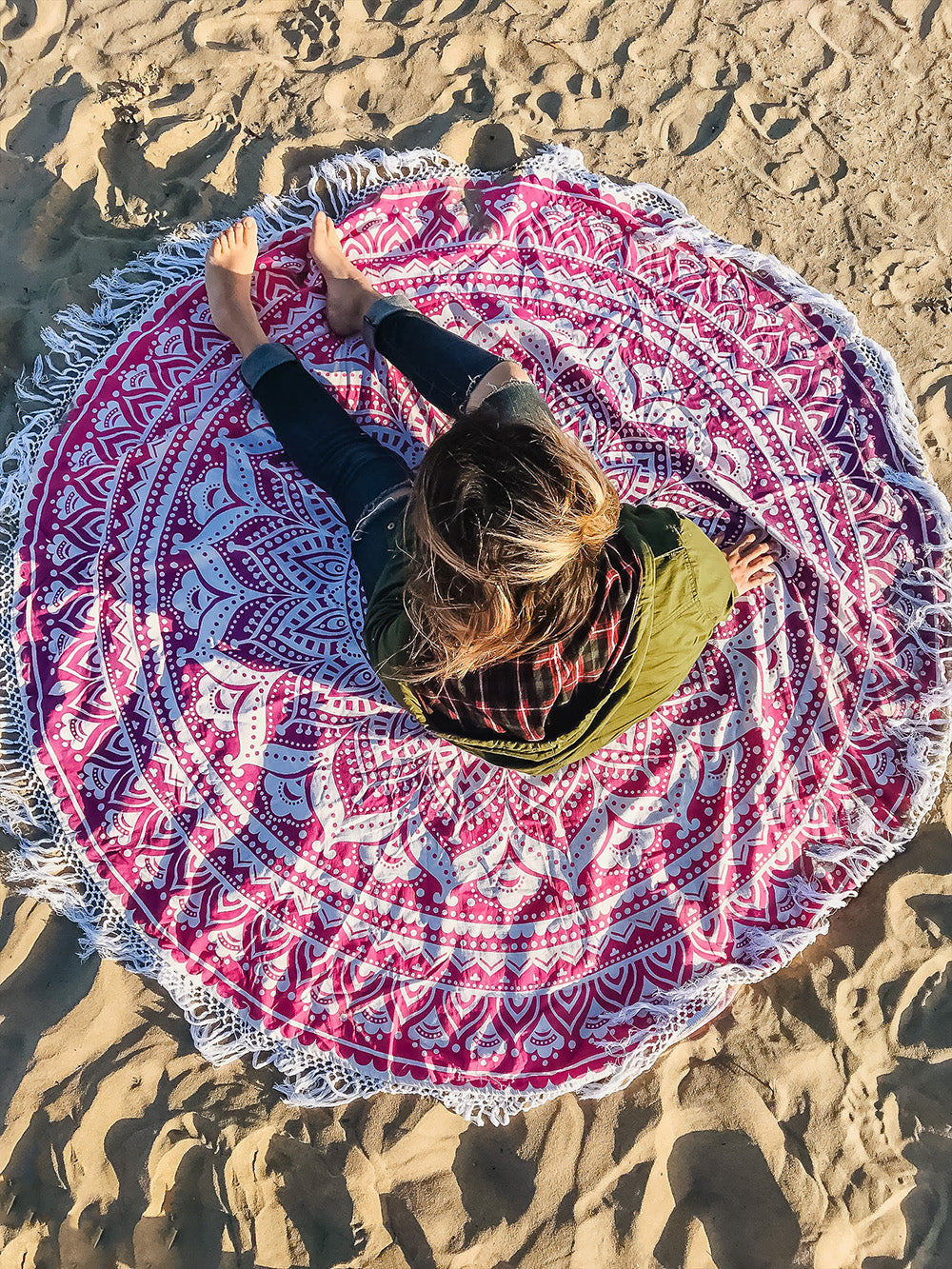 Step up your beach game for summer 2018 with a Boho Roundie. Use your roundie while enjoying the sunshine, around the bonfire, or for a beach mediation session. There's nothing more relaxing than closing your eyes and listening to the calming waves to soothe the soul.