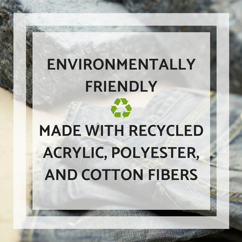 Environmentally friendly Bohemian Fiesta Blankets are made with recycled acrylic, polyester, and cotton fibers.