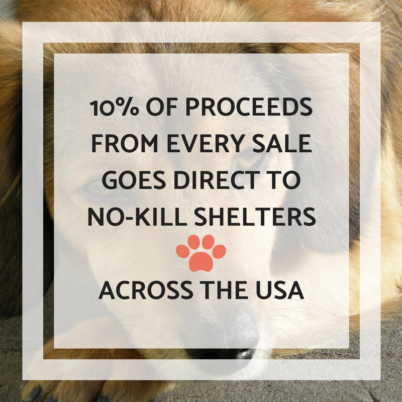 We donate 10% of proceeds from every sale to no-kill animal shelters across the USA. A shelter in each state receives the percentage of sales from that state!