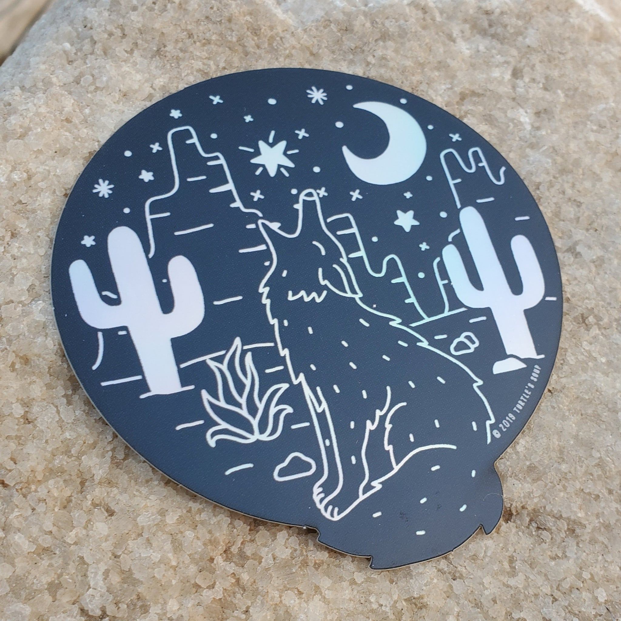 Coyote Moon Holographic Sticker