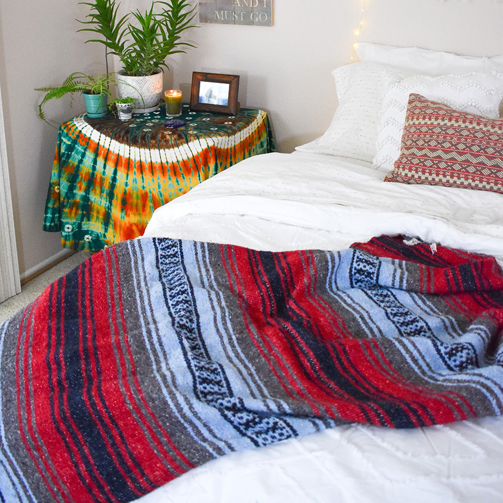 A cozy blanket for the bedroom that adds a touch of boho style inspired by travels to the southwest.