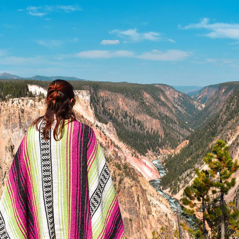 A Mexican Blanket you can take anywhere the Neon Candy Blanket is perfect for any adventure.