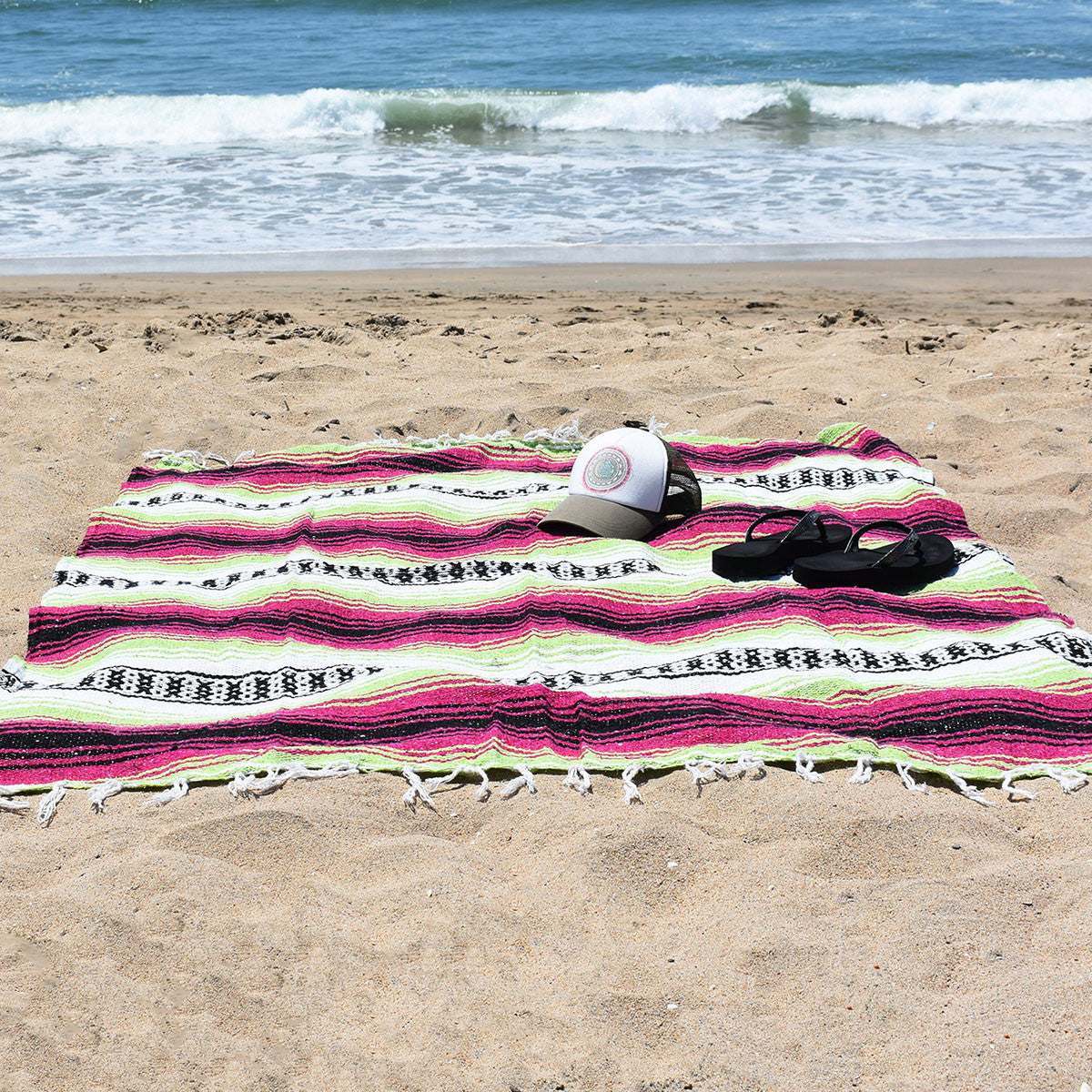 Boho beach blanket for cool summer style - Neon Candy Bohemian Fiesta Blanket.