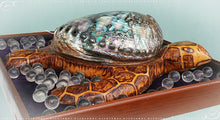 Wooden Scrimshaw Style Hand Carved Sea Turtle Adorned by a Real Abalone Shell