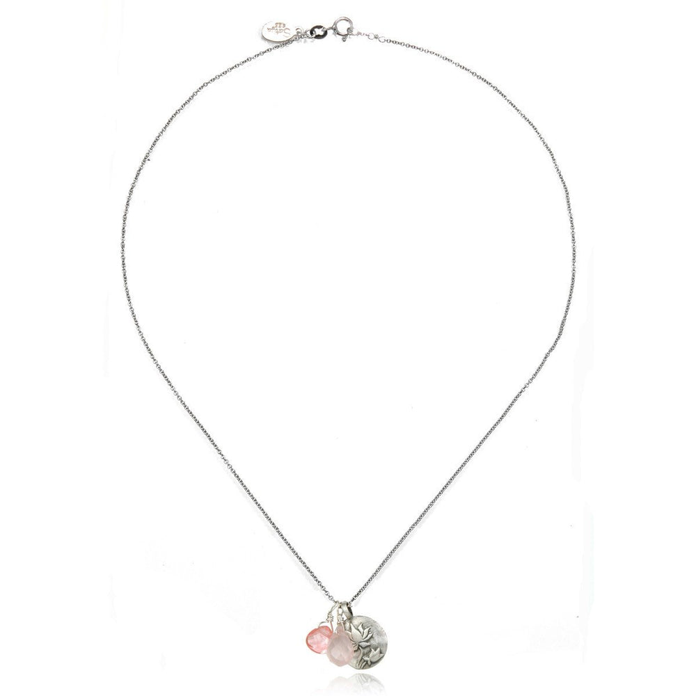 Regeneration - Carded Silver Rose & Cherry Quartz Lotus Necklace - houseofmarpa