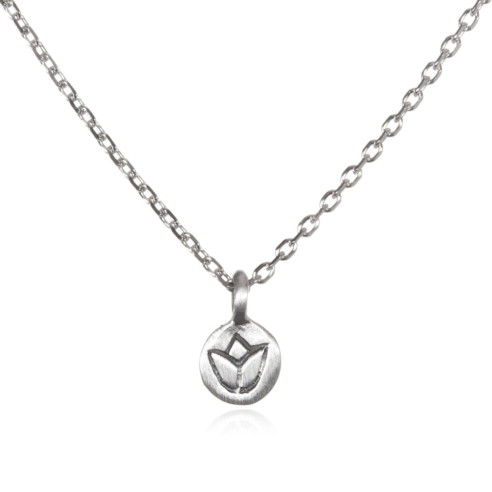 Silver Lotus Necklace - Delicate Flower - houseofmarpa