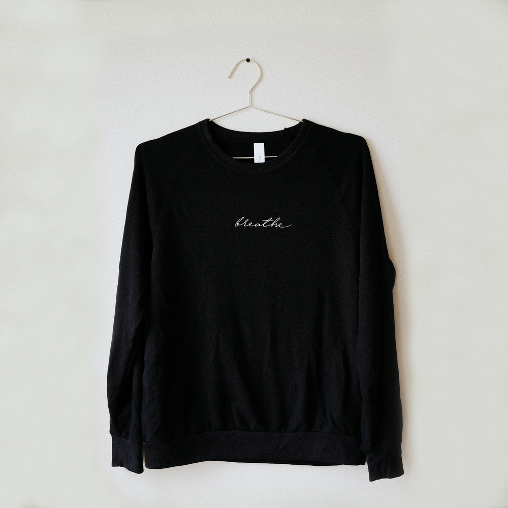 Breathe Embroidered Sweater - Black