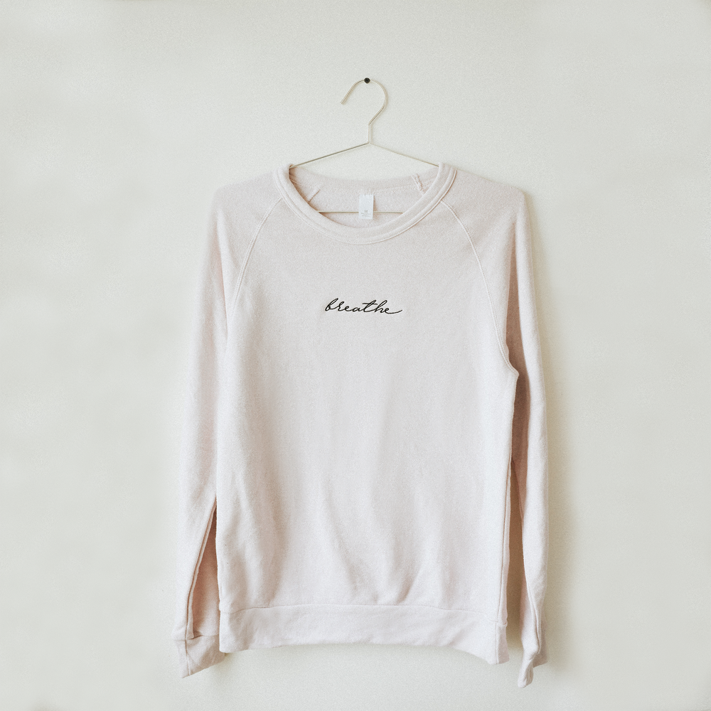 Breathe Embroidered Sweater - Blush Pink