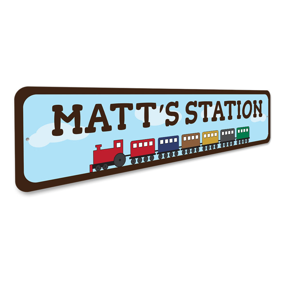 Kids Room Train Sign Aluminum Sign