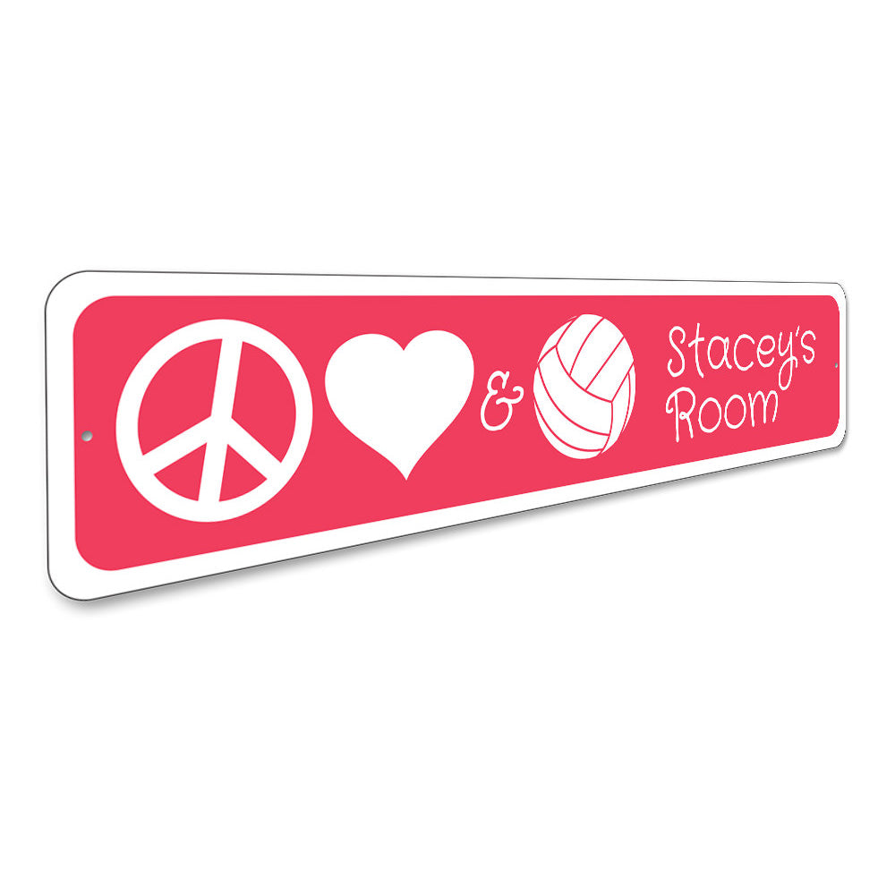 Peace Love Volleyball Sign Aluminum Sign