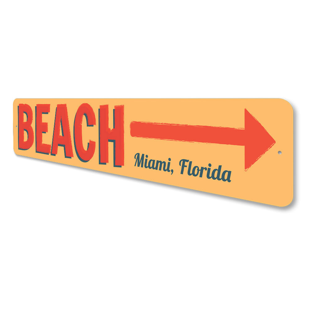 Beach This Way Sign Aluminum Sign
