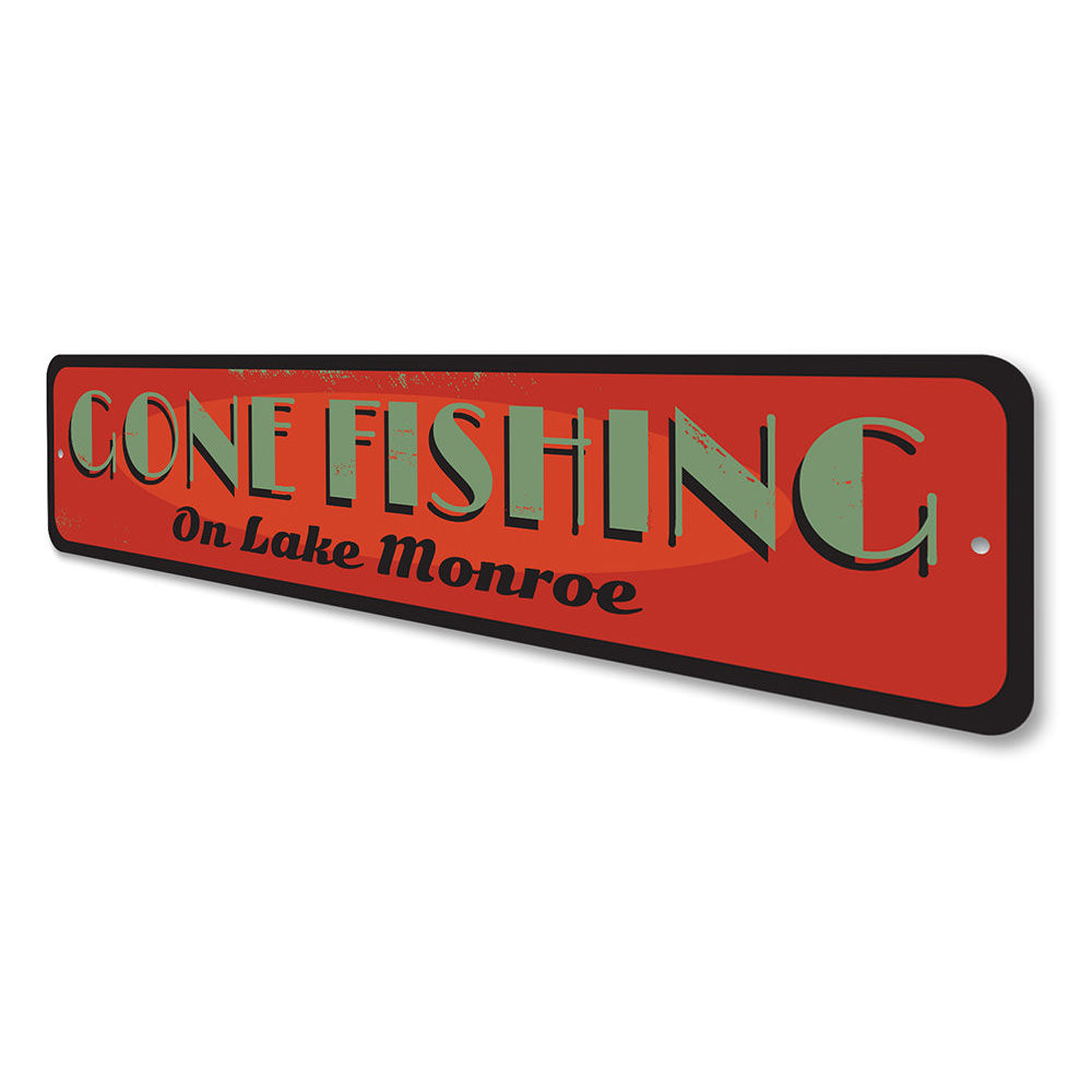 Old Gone Fishing Sign Aluminum Sign