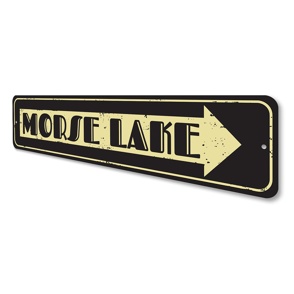Lake Name Arrow Sign Aluminum Sign