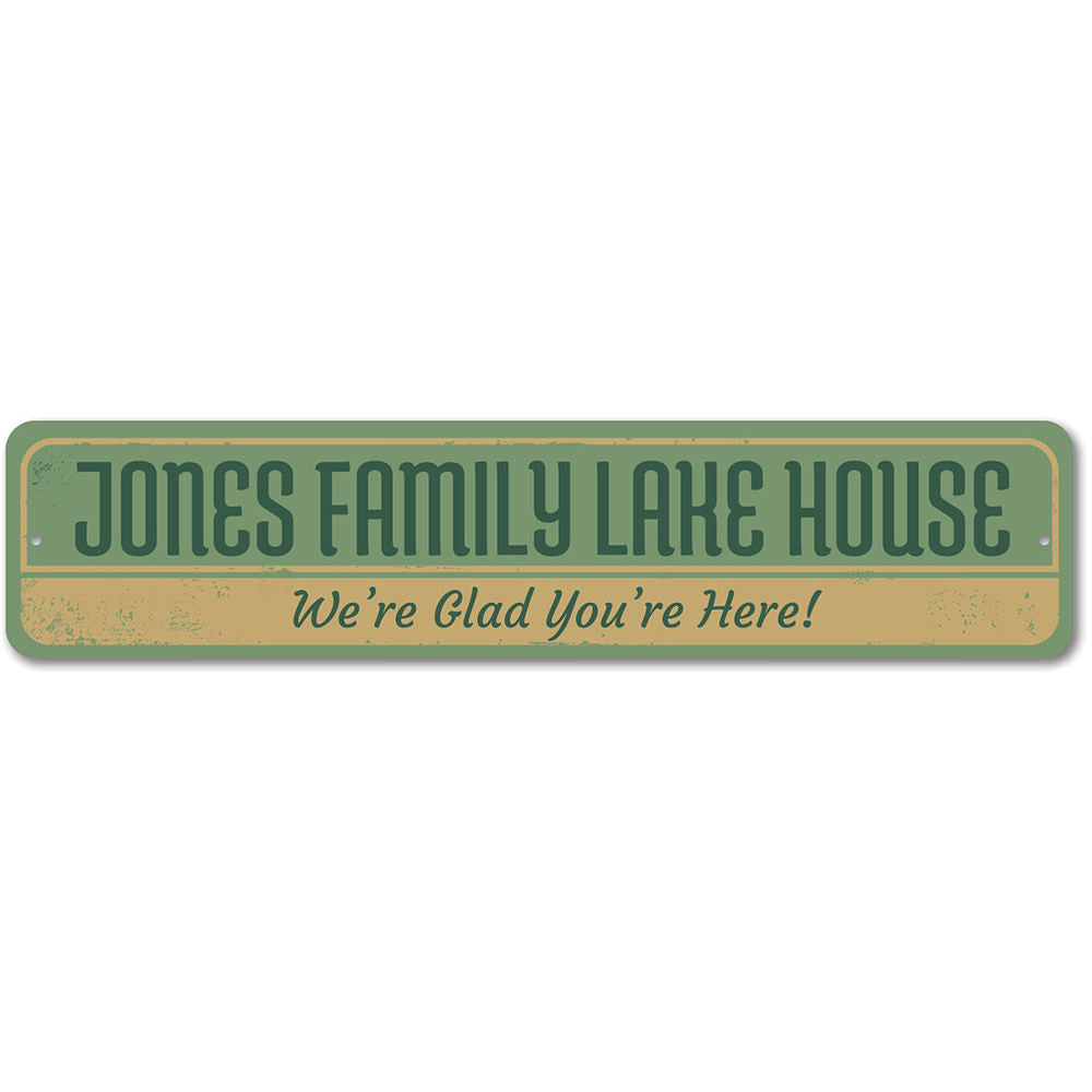 Family Lake House Sign Aluminum Sign