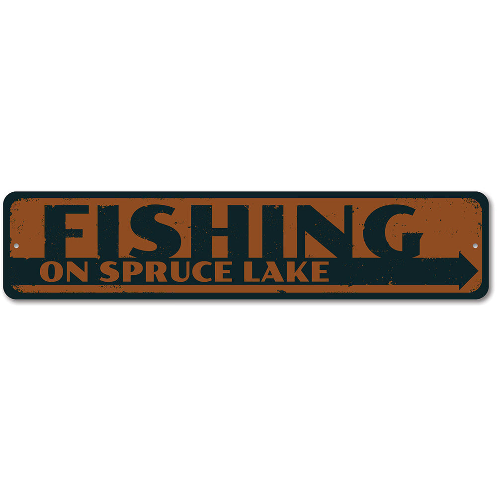 Fishing on Lake Name Sign Aluminum Sign