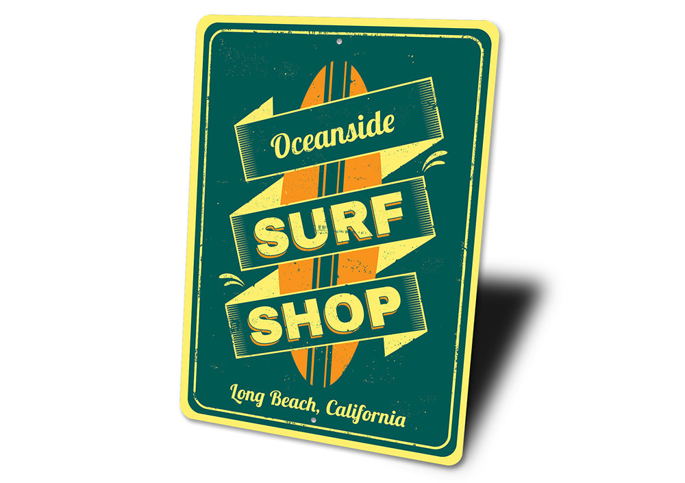 Oceanside Surf Shop Sign Aluminum Sign