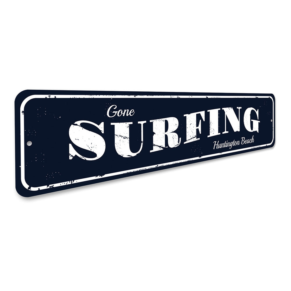 Gone Surfing Beach Sign Aluminum Sign