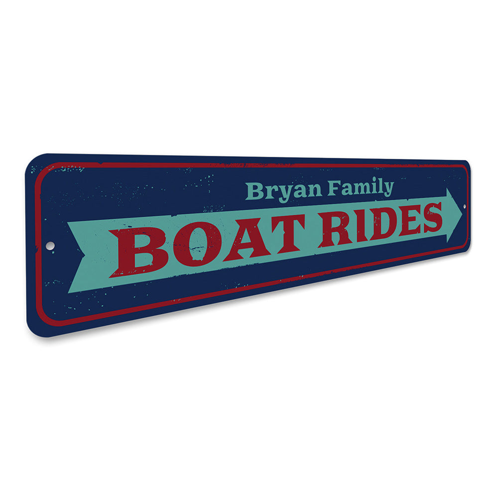 Boat Rides Arrow Sign Aluminum Sign