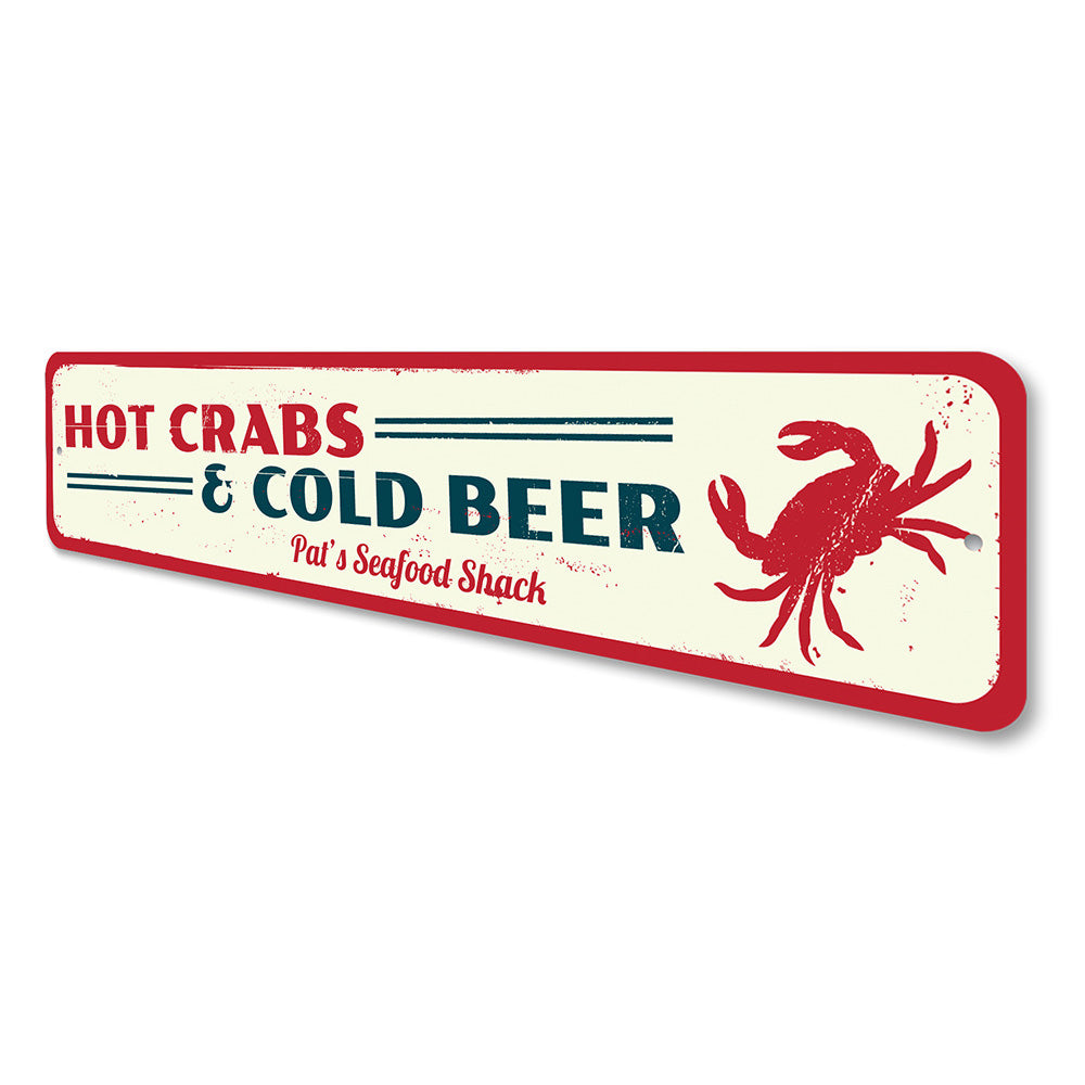 Hot Crabs & Cold Beer Sign Aluminum Sign