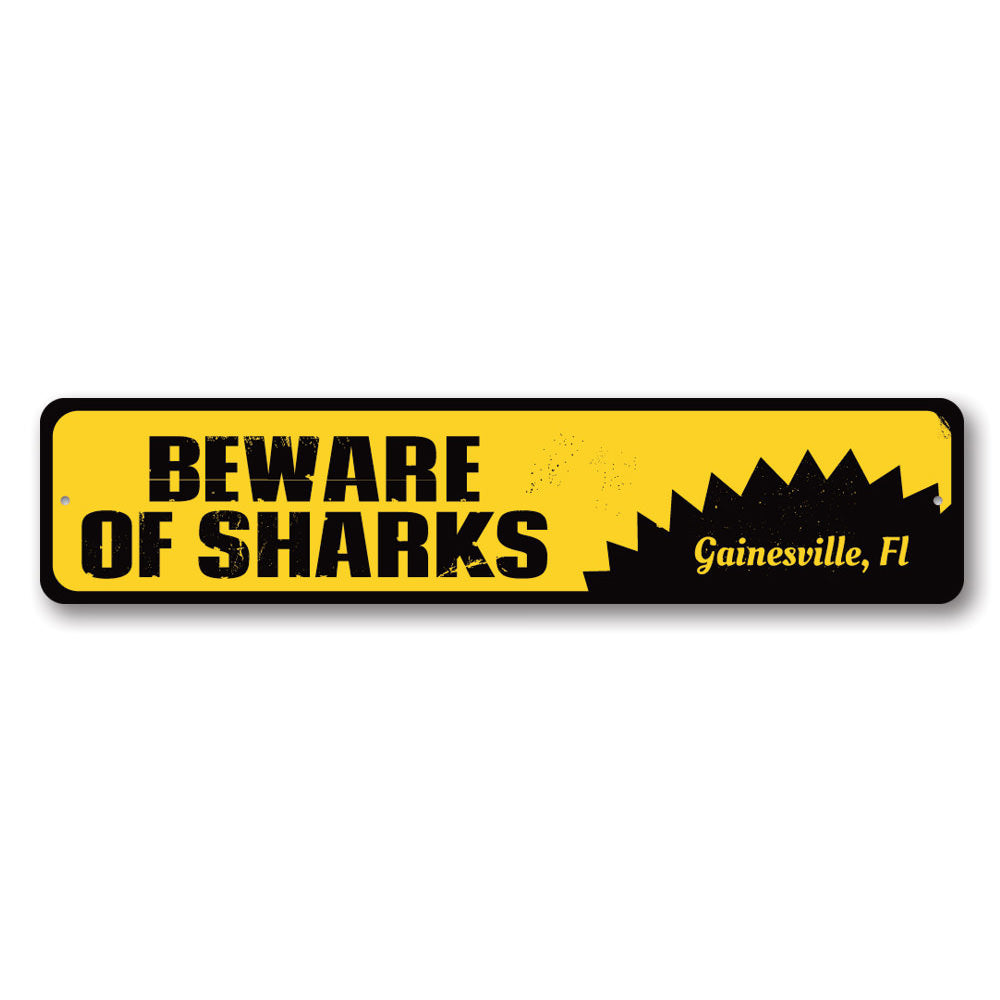 Beware of Sharks Sign Aluminum Sign