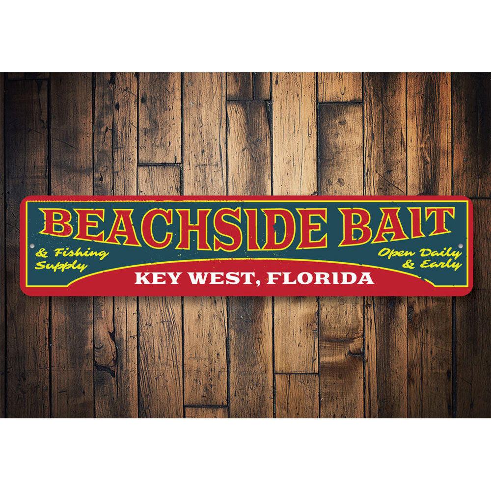 Beachside Bait Sign Aluminum Sign