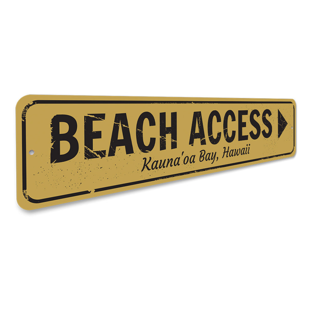 Beach Access Arrow Sign Aluminum Sign