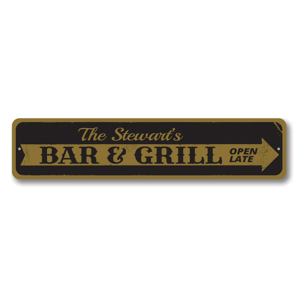 Bar & Grill Arrow Sign Aluminum Sign